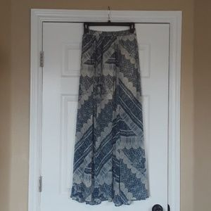 Blue and Cream Abercrombie and Fitch Boho Skirt